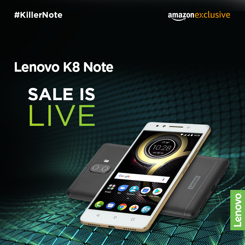 The Lenovo K8 Note sale is now LIVE!
