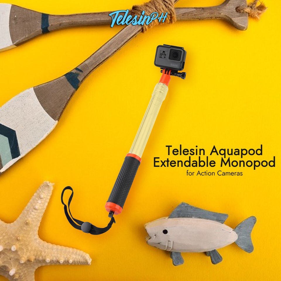 Telesin Aquapod Extendable Floating Monopod Pole for your exciting water activities. www.tomtop.com 💧 Can be used as Floating Hand Grip or Telescopic Pole