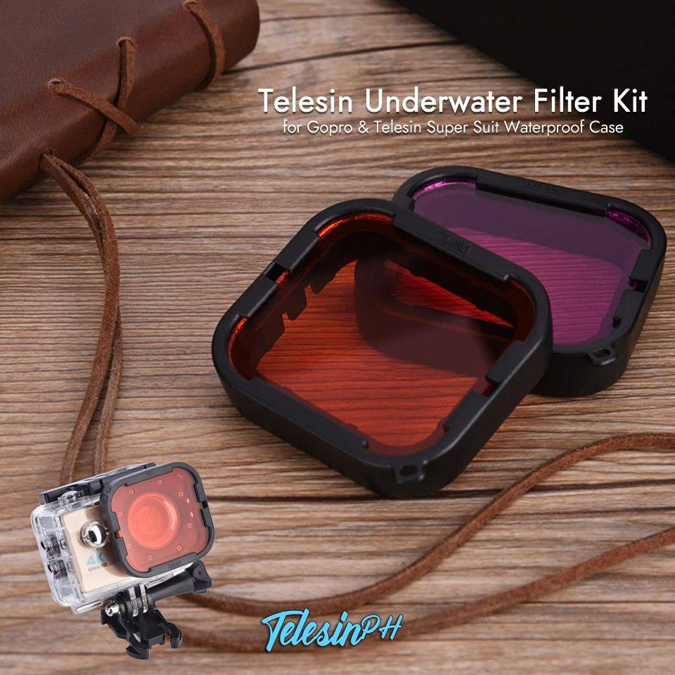 Telesin Underwater Filter Kit for Gopro & Telesin Super Suit Waterproof Case, Optical Glass that filters and enhance your underwater shots. Red filter: used for color correction in seawater diving photography and restoring the red colors absorbed by water