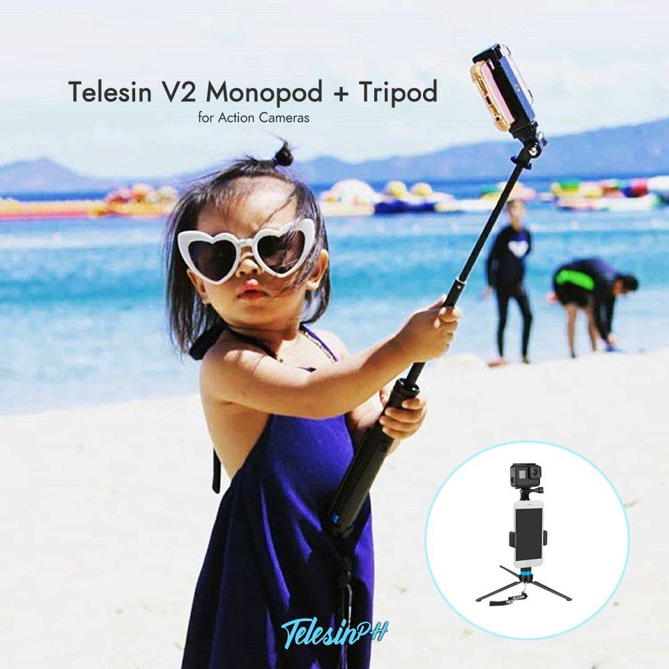 Start them young and hone their skills with Telesin V2 Extendable Monopod Pole + Aluminum Tripod. Portable and lightweight with Phone Holder Grip and Mount Adaptor for your action camera. Twist-and-lock feature allows it to extend from 8 to 36 inches.