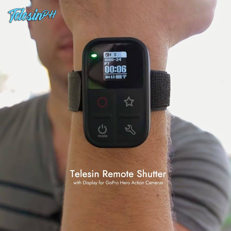 Telesin Remote Shutter with Display is finally HERE! Where you can set up your settings, On/Off your GoPro and Shoot picture and videos with this remote. Price is only ₱1,999 ❗️ >> www.tomtop.com  🔺 Compatible with GoPro Hero 3/3+ Hero 4 Black/Silver, Hero Session, Hero 5, Hero 6, Hero 7 Black (Hero 7 White and Silver not compatible) and Hero 8