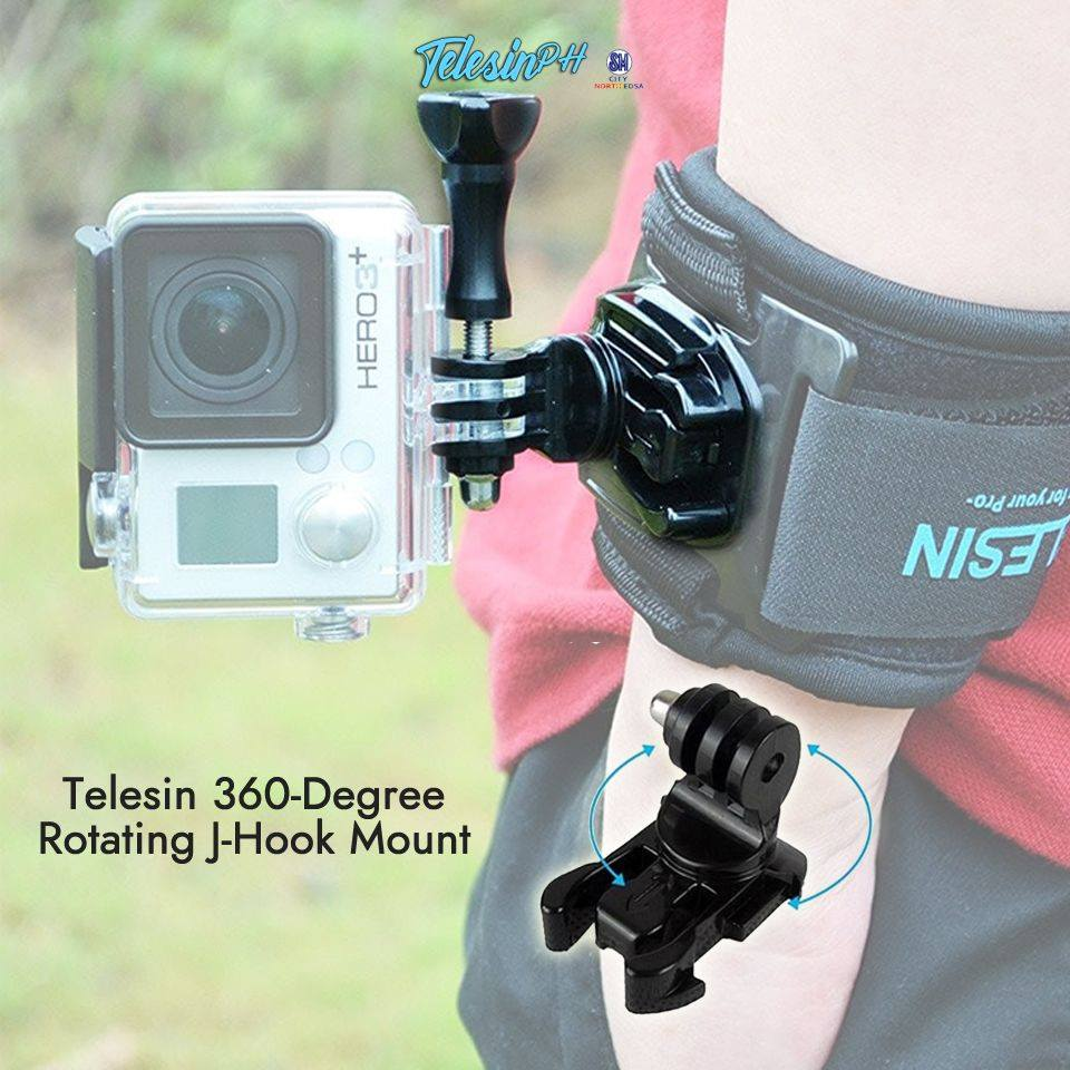 Telesin 360-Degree Rotating J-Hook Mount, Perfect for those who want to get a perfect multi-angle shot. Very convenient, stable and durable for your outdoor activities.  It can mount on chest belt strap, helmet strap, shoulder strap, clips, etc.