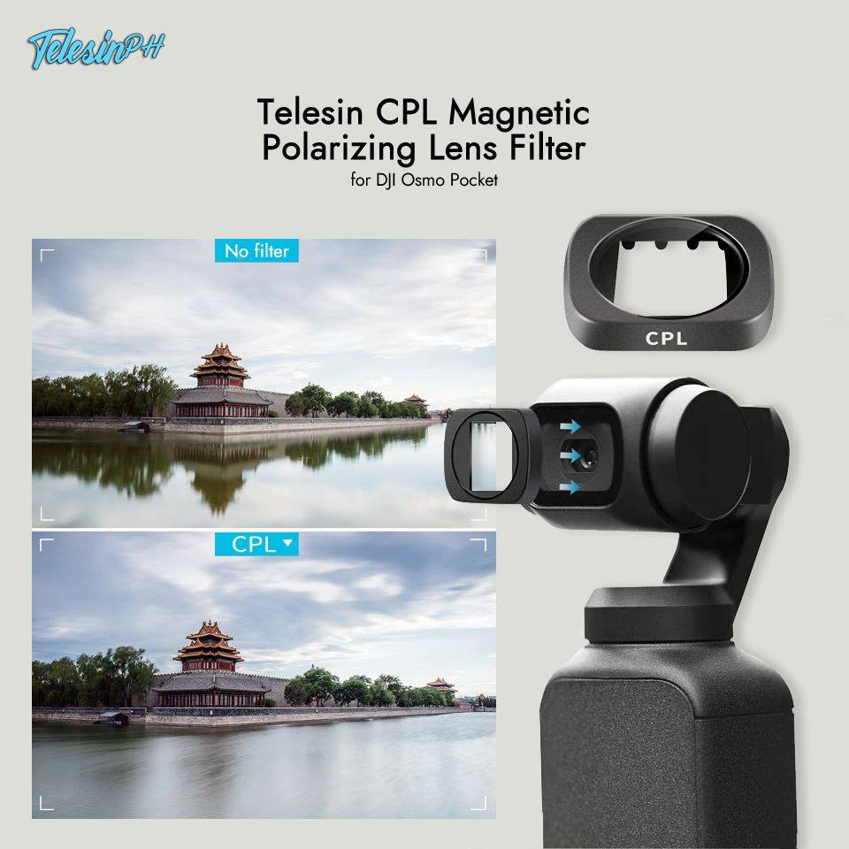 Remove unwanted light, reflections or color and turn your shots into professional standard photography with Telesin CPL Magnetic Polarizing Lens Filter. It also provides color and contrast enhancement; creating deep and rich cinematic images and protects your lens from dust and scratches.