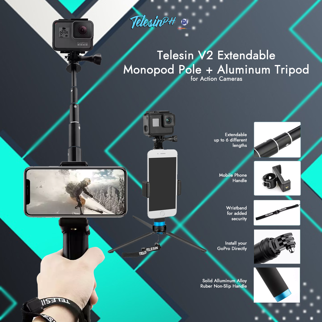 An Extendable Monopod + Tripod for all Action Cameras and Smartphones. Telesin V2 is an upgraded aluminum alloy tripod mount adapter, strong stability with a Phone holder that fits any phone within 55 mm - 85 mm width. The Twist-and-lock feature allows Telesin Monopod to extend from 8 to 36 inches long. Get it here for only ₱699!...
