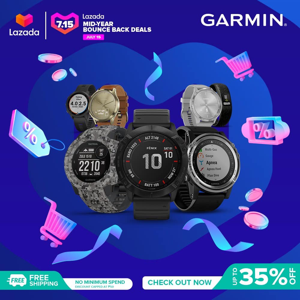 How do you bounce back from the quarantine? Drop a 💙 if staying active & working out is your favorite bounce back trick too! Click www.tomtop.com to get the latest Garmin wearable to help you strengthen your immune system from the Lazada Mid-Year Bounce Back Deals this July 15, 2020! You even get FREE SHIPPING from our #BiggestBounceBackDeals yet!  #BounceBackSaLazada ...