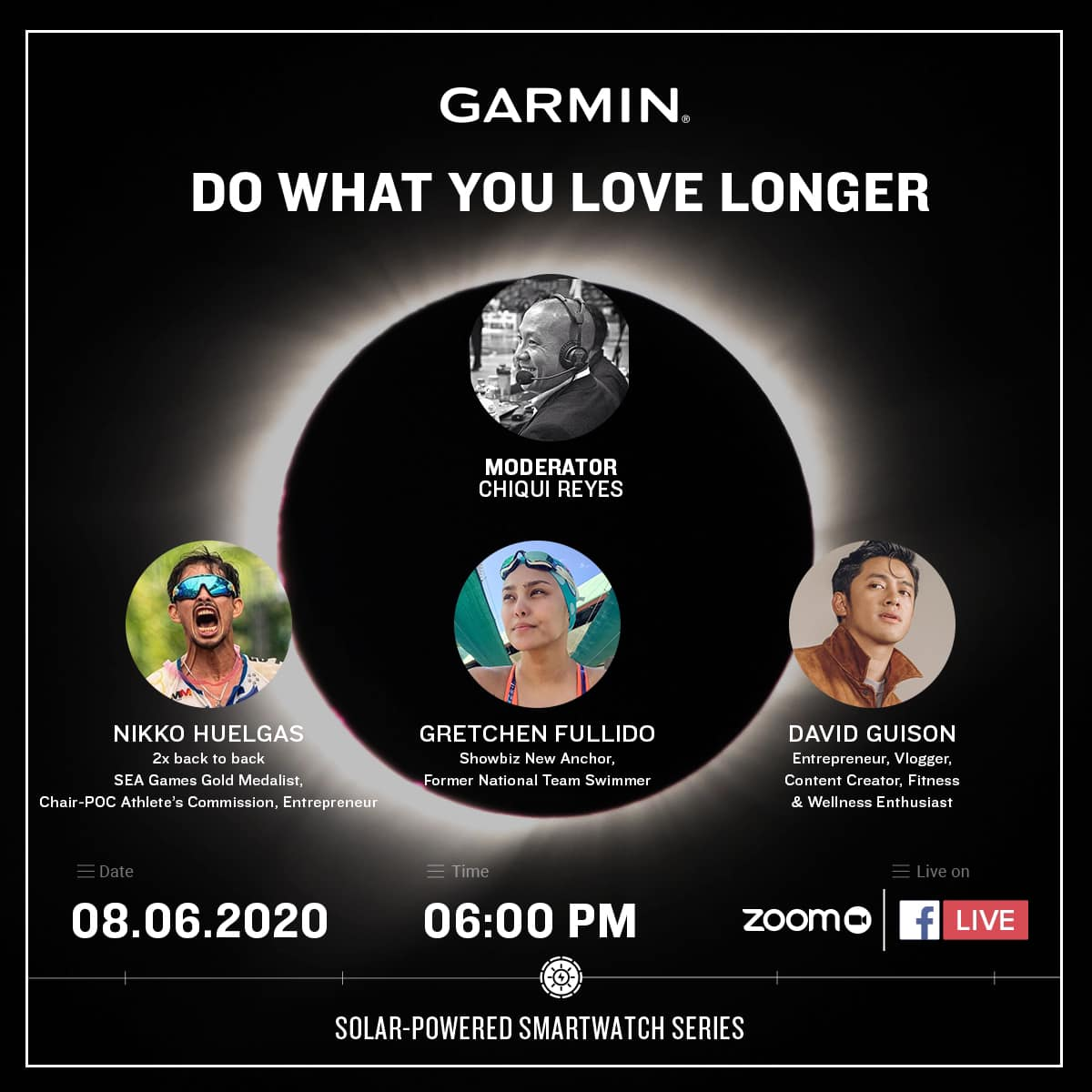 Join us later at 6PM as we unveil the ultimate solar-powered smartwatch series.  Push your performance to a whole new level. Go longer. Explore longer. Train longer. Do what you love, longer.  Hosted by Chiqui Reyes, together with Nikko Huelgas, Gretchen Fullido, and David Guison. ... Let's talk about technology, fitness & wellness, and