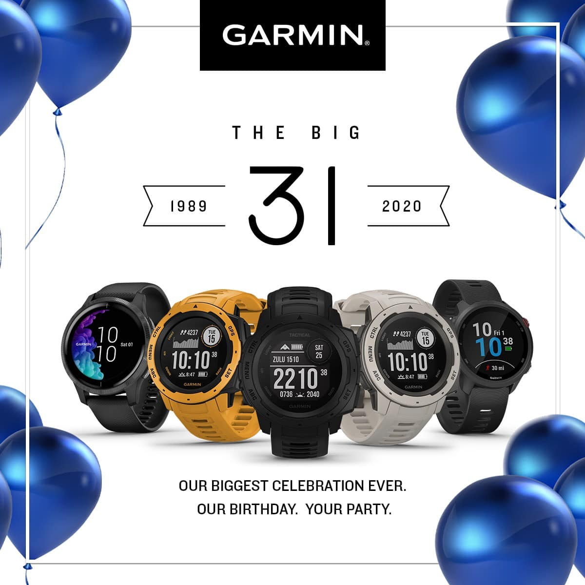 It's Garmin's 31st birthday and we're throwing OUR BIGGEST PARTY YET! 🥳 No silly hats