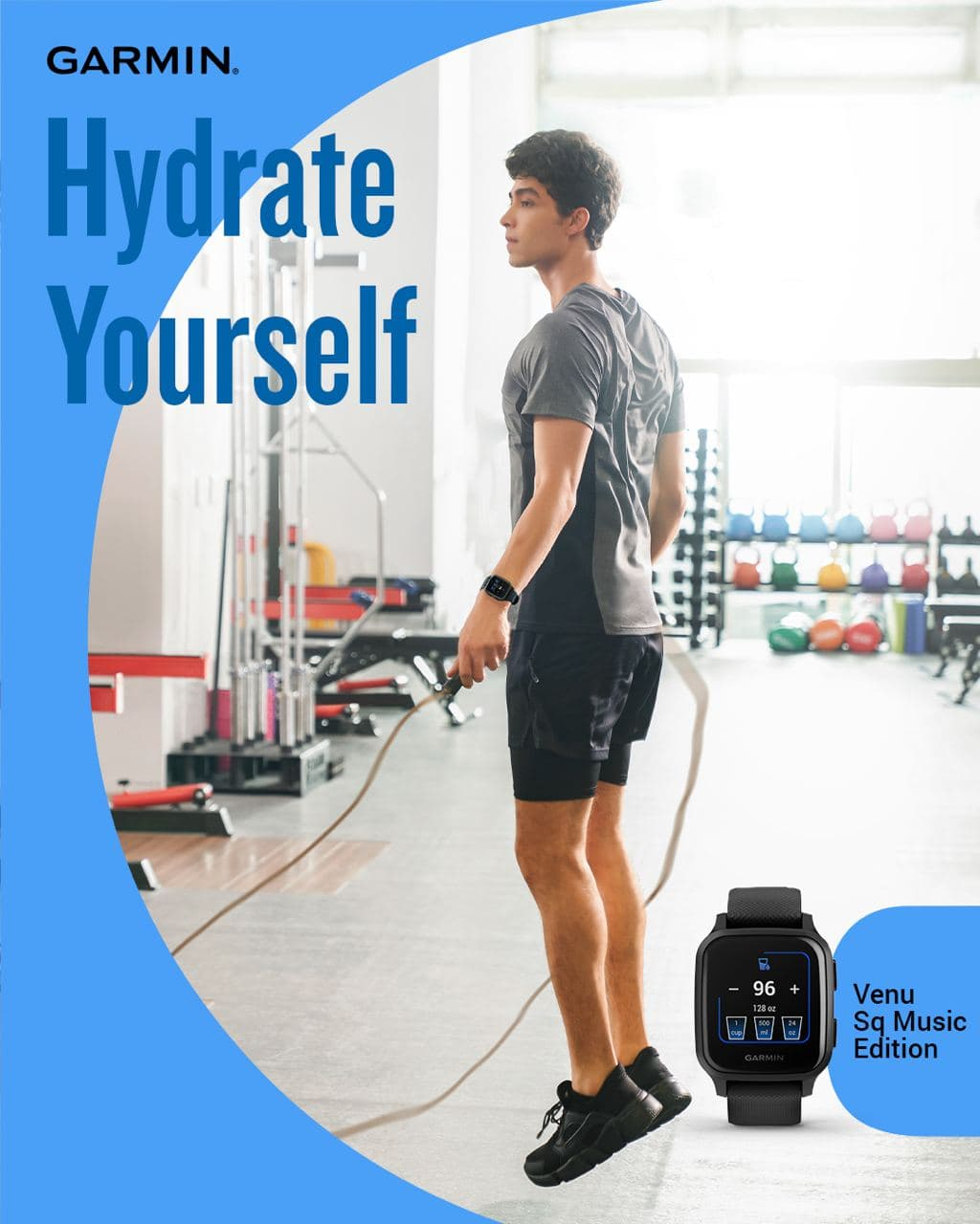 When you're working out, your body sweats and it causes you to lose body fluid.  Hydration Tracking logs your daily fluid intake as a reminder to stay hydrated. When you exercise, you need more fluid to replace the sweat lost. Aside from playing your favourite songs, the Venu Sq Music Edition also allows you to have an auto goal for hydration that adjusts based on how much sweat you lose during activities.  Build a healthy pattern by getting hydrated!...