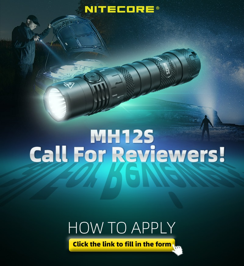 Your attention please!! 😉 We are seeking reviewers to review the superior performance 21700 dual fuel compact flashlight, the MH12S! 🔦 It's a great chance to try our latest flashlight, click the link below to apply 👇: